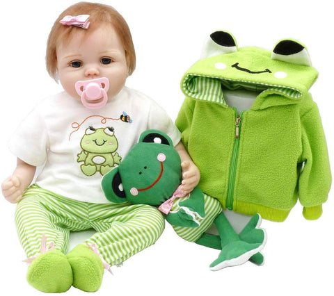 Junmao 22 Inch Lifelike Reborn Baby Dolls Girls Handmade Soft Silicone Realistic Newborn Baby Doll With Frog Clothes & Accessories, Gifts And Playmates For Kids Age 3+ (Green, 55Cm)