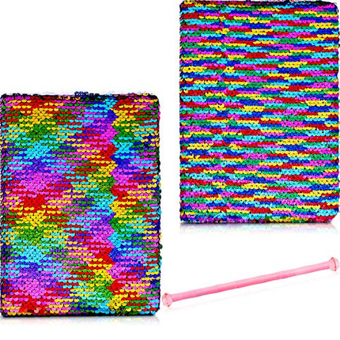 Chuangdi 2 Pieces Reversible Sequin Notebook Flip Sequin Journal Notebook With Pen For Kids Boys Girls (Color Set 2)