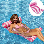 Homeself Inflatable Striped Float Hammock, Portable Swimming Pool Water Sofa Lounge Air Bed Mat Floating Rafts, For Adults Kids Spring Summer Outdoor Relaxing Sunbathing Pool Party (Striped Pink)