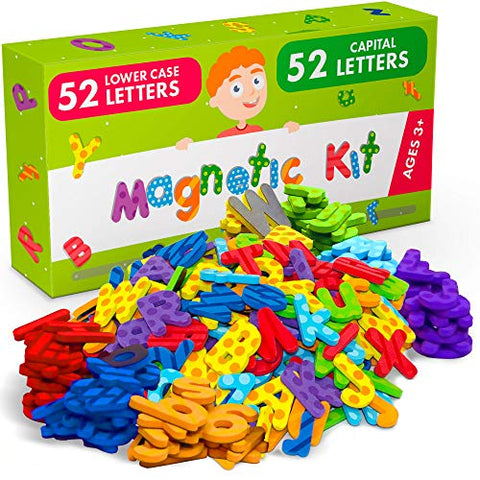 X-Bet Magnet Alphabet Magnets For Toddlers And Kids - 104 Pcs Premium Foam Magnetic Letters - 52 Pcs Uppercase And 52 Pcs Lowercase Abc Magnets - Educational Toy For Preschool Learning And Spelling