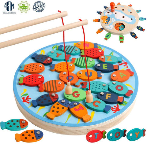 Kizh Wooden Magnetic Fishing Game Toy Alphabet Letter Catching Counting Board Games Math With Magnet Poles Educational Preschool Learning Toys For 3 4 5 Year Old Boys Girl Kids Toddlers