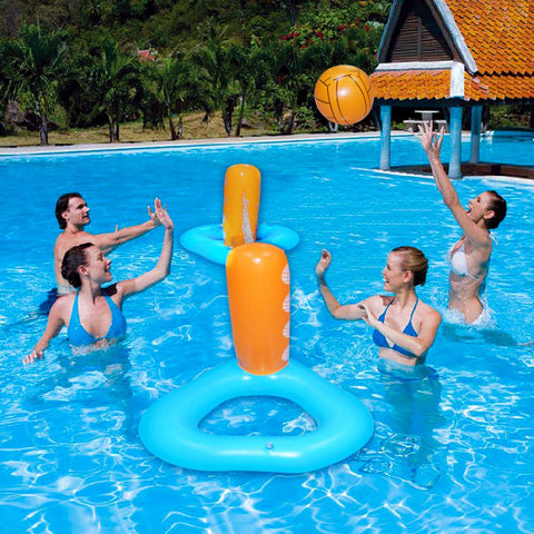 Harder Inflatable Pool Float Set Volleyball Net & Basketball Hoops Balls Included For Kids And Adults Swimming Game Toy Floating Summer Floaties Volleyball Court (95X28X24) Volleyball 9