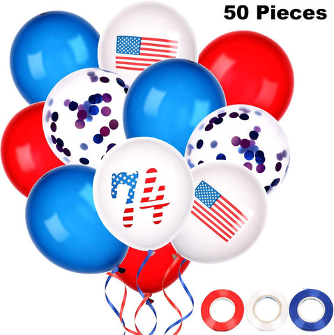 Patriotic Latex Balloons 4Th Of July Balloons Independence Day Party Decorations,50 Pieces