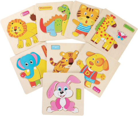 Jamohom Wooden Jigsaw Puzzles Set Animal Preschool Learning Educational Toys For Toddlers Of