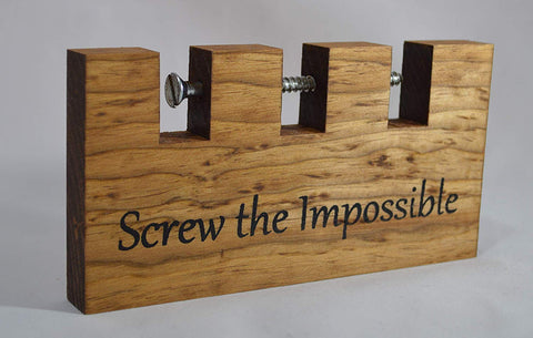 "Screw The Impossible, Wooden Puzzle, 6.5"" X 3.5"""