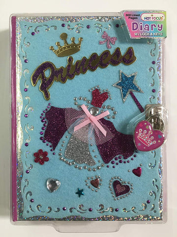 Hot Focus Tango11S Diary With Lock And Key, 300 Lined Pages (Princess, 300)