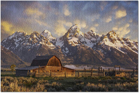 Grand Tetons National Park - John Moulton Barn - Photography A-94633 (20X30 Premium 1000 Piece Jigsaw Puzzle, Made In Usa!)