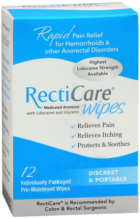 RECTICARE MEDICATED ANORECTAL WIPES 12CT