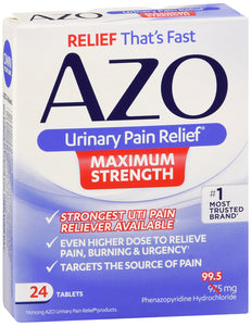 AZO URINARY PAIN RELEIF MAX STRNGTH 24CT