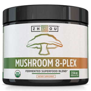Zhou Nutrition Mushroom 8-plex Organic Mushroom Powder for Brain Power, Immune Support, Energy and Endurance, 2.14 Ounce