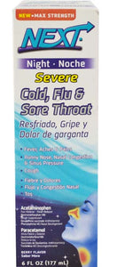 GENOMMA NEXT NIGHT COLD/FLU & SORE THROAT SYRUP 6oz