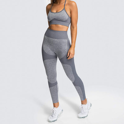 Women Fitness Seamless 2 Pieces Set -Gray