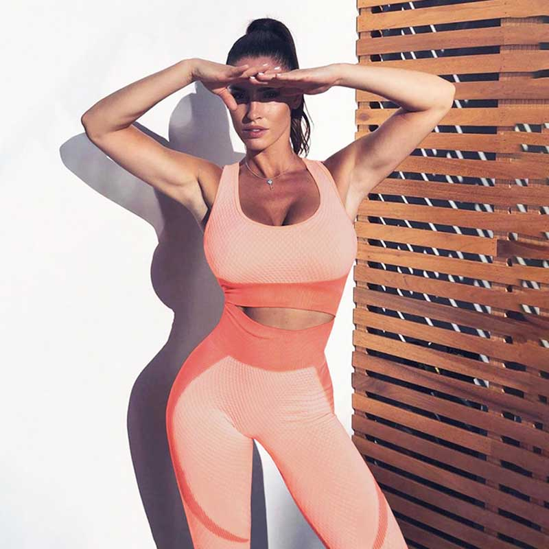Women New Sports Set Fitness Bra Seamless Leggings -Orange