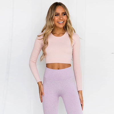 2 Piece Set Casual Seamless Tracksuits