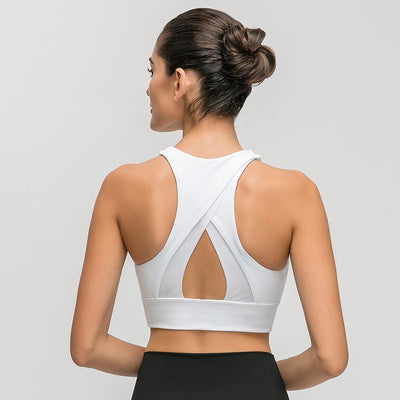 Women High Impact Fitness Sports Bra -White