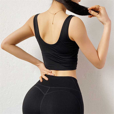 Women Sexy Backless Bra Crop Tops-Black