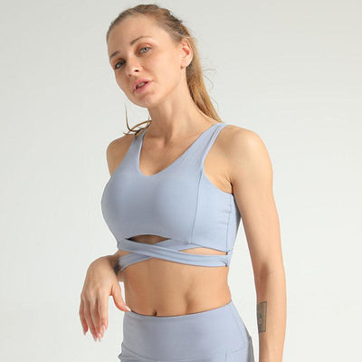 Criss Cross Back Lettering Tape Sports Bra -Blue