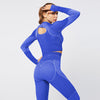 New Fitness Seamless Set Women Tracksuit -Blue