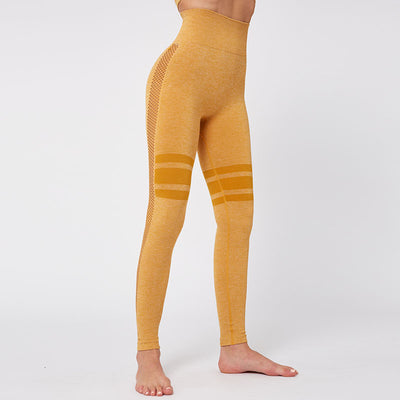 Gym Mesh Breathable Seamless Leggings -Yellow