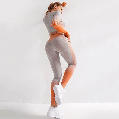 Seamlesss Gym Clothing Women Stripe Sets -Orange