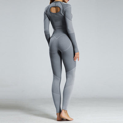 New Fitness Seamless Set Women Tracksuit -Gray