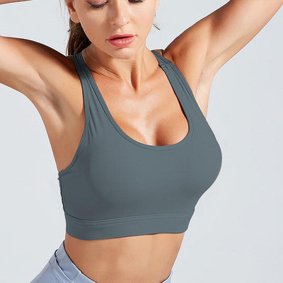 Workout High Elastic Bra Tops With Pocket-Dark Gray