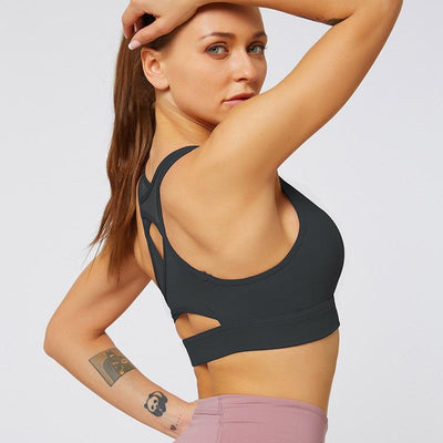 Mesh Breathable Sports Bra Tops- Black