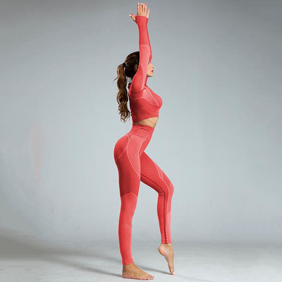 High Waist Sports Yoga Two Piece Sets - Red
