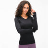 High Stretchy Seamless Sport Long Sleeve Shirts -Black
