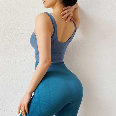 Women Sexy Backless Bra Crop Tops -Blue