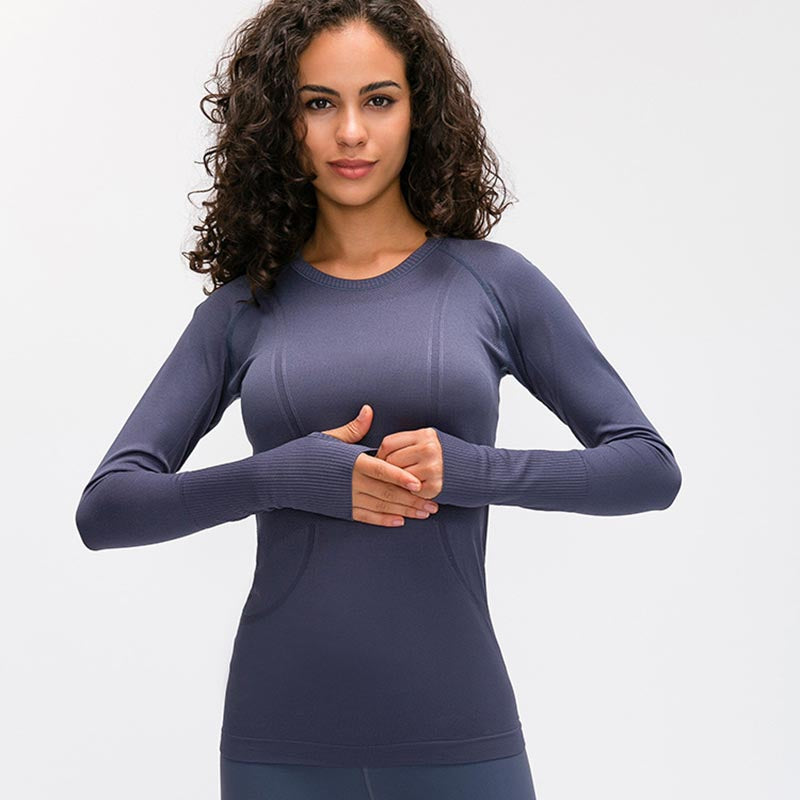 High Stretchy Seamless Sport Long Sleeve Shirts -Purple