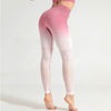 Women Seamless Gradient Gym Leggings -Rose Red