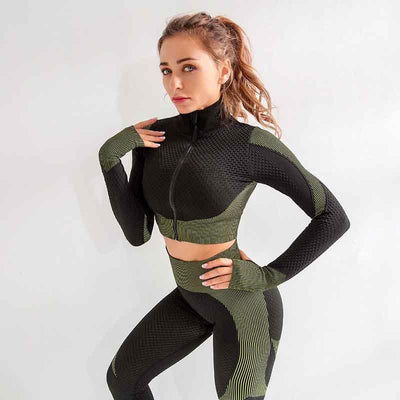 Women Fitness Set 2 Pieces Set Sports Suits-Green