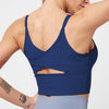 Mesh Back Cross Sexy Workout Bra -Navy Blue