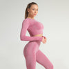 Seamless Long Sleeve Fitness Sets Tracksuit -Wine Red