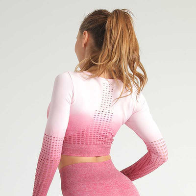 Women Seamless Long Sleeve Workout Top -Pink