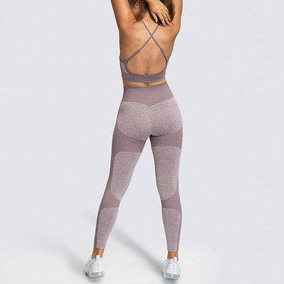 Women Fitness Seamless 2 Pieces Set -Brown