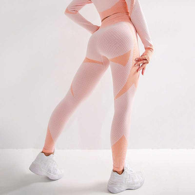Women Fitness Set 2 Pieces Set Sports Suits-Orange