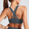 Cross Strap Back Sports Bra Top -Dark Gray