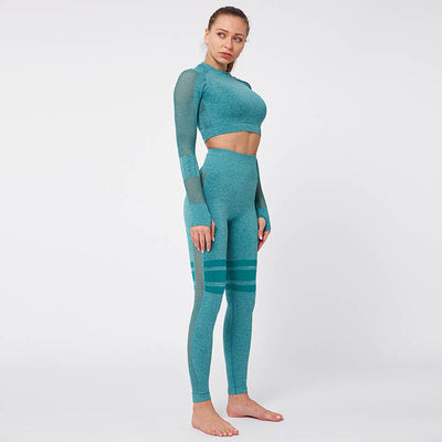 Gym Mesh Breathable Seamless Sets -Green