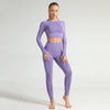 Seamless Long Sleeve Fitness Sets Tracksuit -Purple
