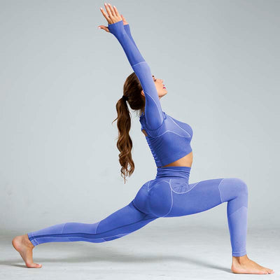 High Waist Sports Yoga Two Piece Sets - Purple