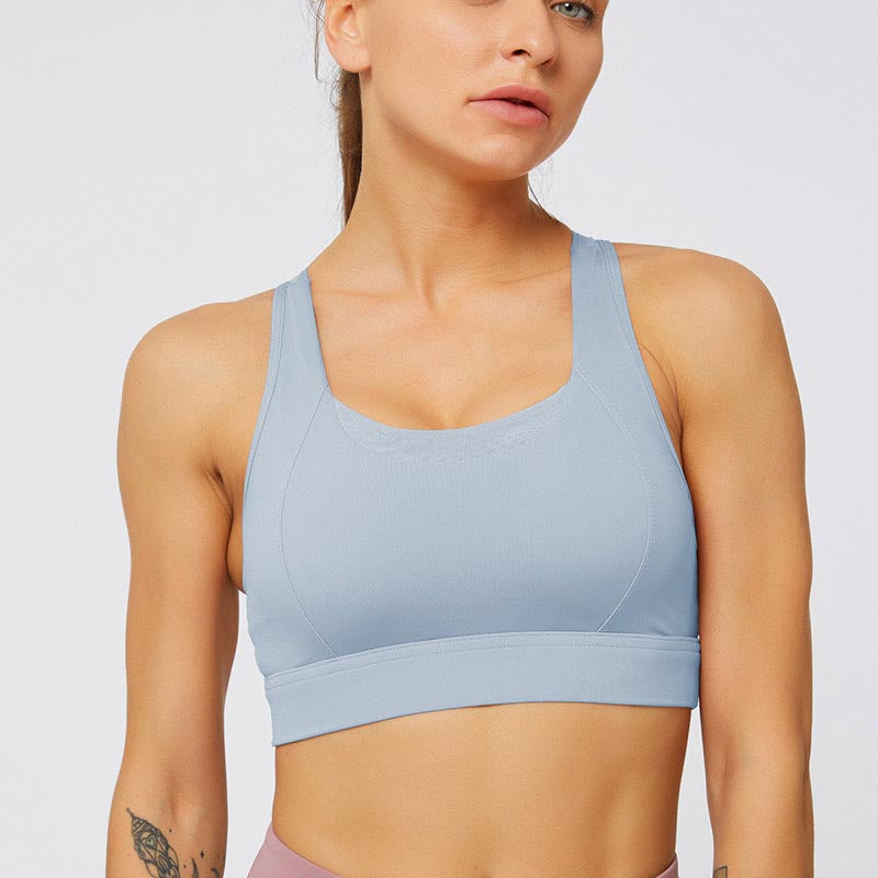 Mesh Breathable Sports Bra Tops-Pink