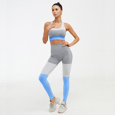 Casual Seamless Suit Workout 2 Pieces Set -Blue