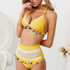 Sexy Push Up Bikini High Waist Swimsuit - Yellow