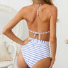 Sexy Push Up Bikini High Waist Swimsuit - Blue Stripe