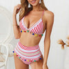 Sexy Push Up Bikini High Waist Swimsuit - Red Stripe