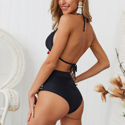 Sexy Push Up Bikini High Waist Swimsuit - Black