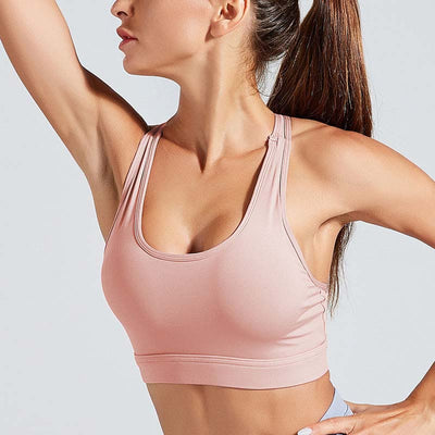 Workout High Elastic Bra Tops With Pocket-Pink