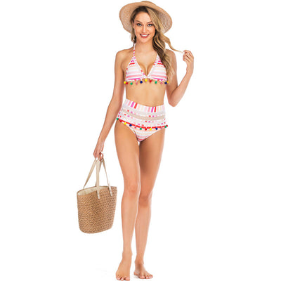 Sexy Push Up Bikini High Waist Swimsuit - Multicolor